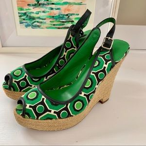 🛍 Green and navy wedge shoes 🛍